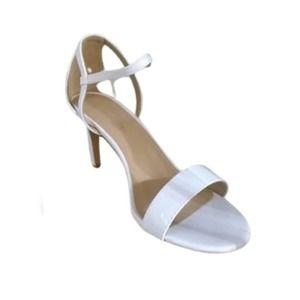 White faux leather kitten heel